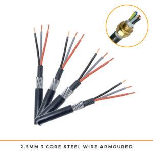 2.5mm x 3 Core SWA Cable (Per Metre)