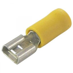 4.00-6.0mm x 6.3mm Yellow push on female terminal cable lugs