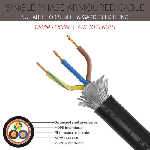 2.5mm x 3 core SWA cable with coloured cores
